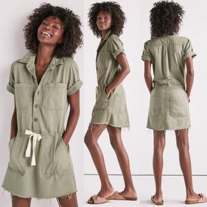 Lucky Brand Drawstring Button Dress In Sage Fray